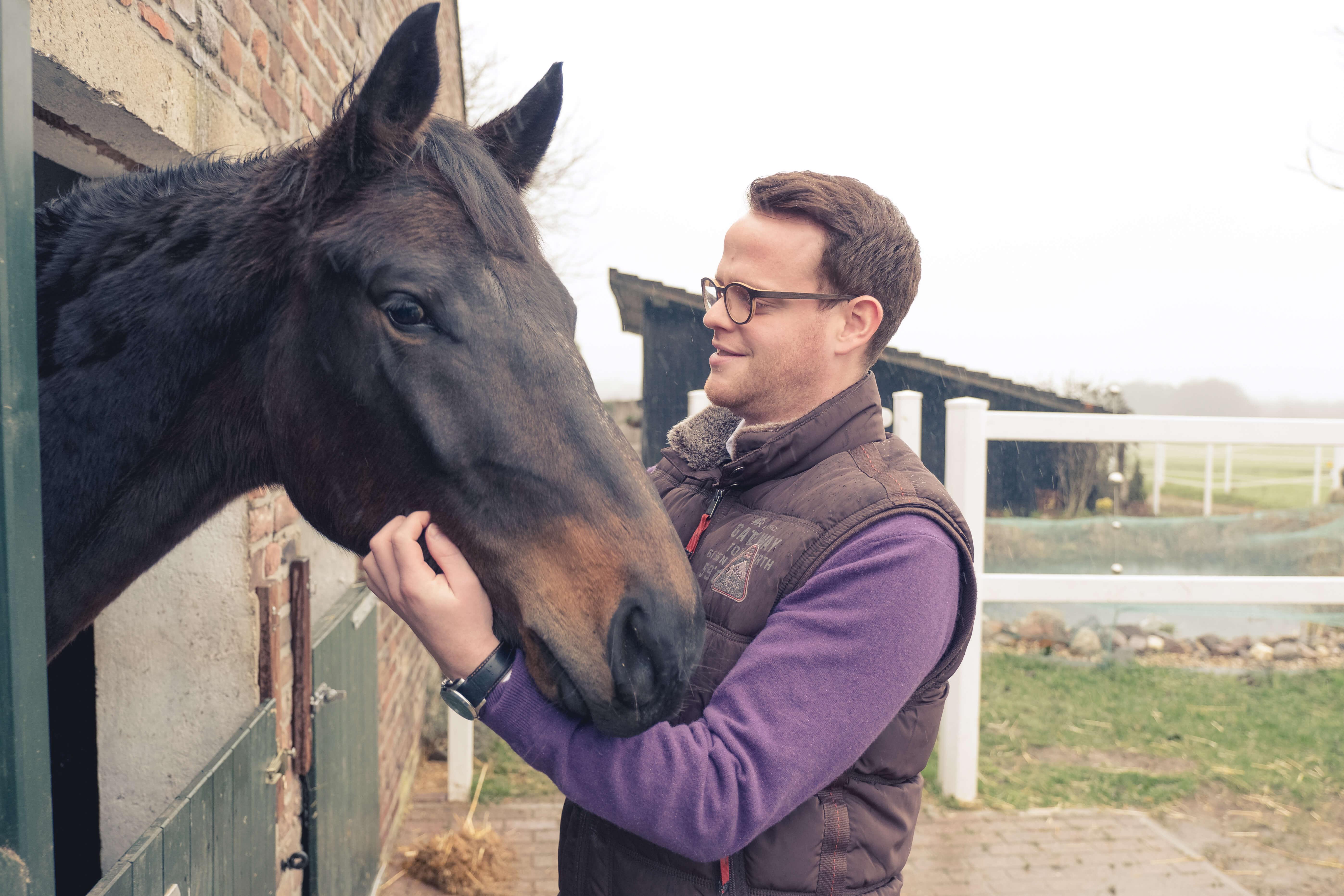 Junger Mann streichelt liebevoll ein Dressurpferd
