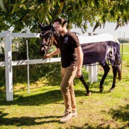 Daniel Jokisch führt Pferd im Reiter&Ross Look